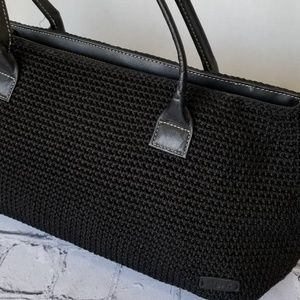 The Sak Black Nylon Knit Shoulder Bag